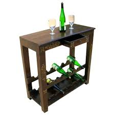 wine rack console table antique brass inlay solid wood wine rack console table