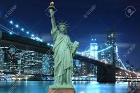 Lights Of Liberty Manhattan Skyline Brooklyn Bridge And The Statue Of Liberty