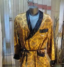 vintage 60s sharkskin satin smoking jacket gold black wrap robe