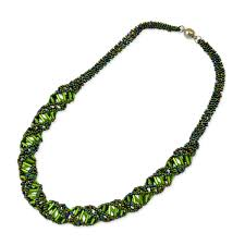 long beads necklace images Dna green iris beaded necklace 18 quot long jpg