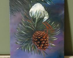 Pine Cone Home Decor Pine Cone Painting Etsy
