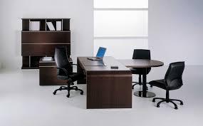 interior dark brown modern varnished solid wood workstation desk