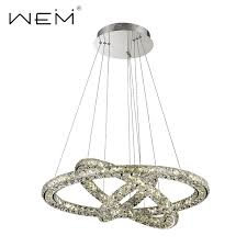Chandelier Single Modern Led Pendant Light Crystal With Stainless Steel Round Circle