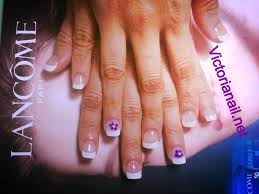 white tips and purple flowers artificial nail nail art design