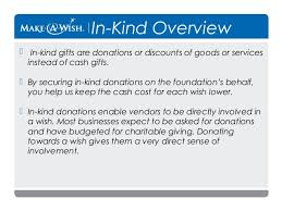 asking for in kind donations