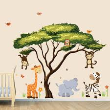Nursery Stickers Large African Tree Decal And Jungle Animal Wall Decals For Children