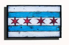 Chicagos Flag Handmade Distressed Wooden Chicago Flag Vintage Art Distressed