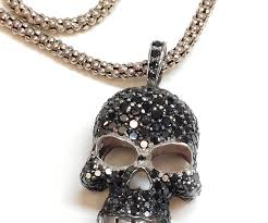 black diamond necklace pendant images Sterling silver 3 50ct black diamond skull pendant with 18 inch jpg