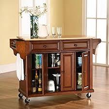 Amazoncom Crosley Furniture Rolling Kitchen Island With Natural - Rolling kitchen island table