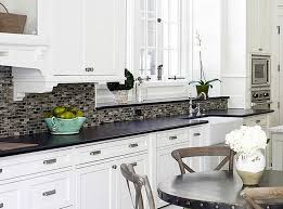 backsplash with white kitchen cabinets white cabinets black countertop tile backsplash exitallergy