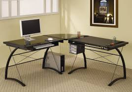 Home Office Glass Desk Black Glass Top Metal Base Modern Home Office Desk