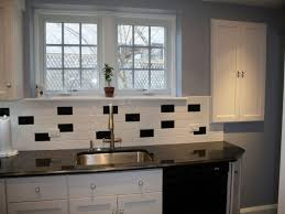White Subway Tile Kitchen Backsplash Classic Black And White Subway Tile Backsplash Ideas For Small