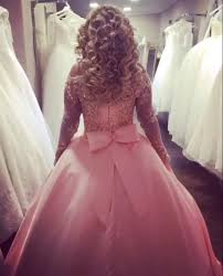Wedding Dresses Ball Gown Gold Lace Long Sleeves Pink Satin Bow Back Wedding Dresses Ball