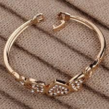 rose gold crystal bangle bracelet images Cute rose gold five hollow heart carve crystal chain link bangle jpg