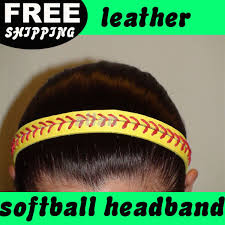 softball headbands wholesale high quality fashion real leather yellow fastpitch