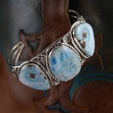 cuff bracelet with stone images Blue larimar triple stone sterling silver cuff bracelet jpg
