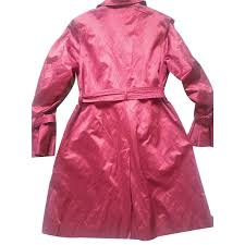 dkny trench coat trench coats cotton polyester metal pink ref