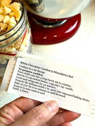 chocolate cranberry macadamia nut cookies in a jar recipe