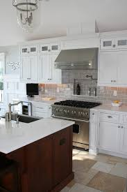 grey glass subway tile kitchen traditional with none