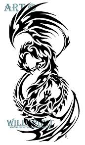 tribal dragon and phoenix my mystical creature pinterest