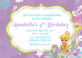 endearing annabelle 4th birthday with tinkerbell party invitations