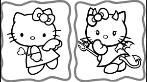 hello kitty angel and demon coloring book coloring pages art