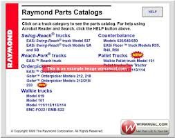 raymond forklift truck service manual and spare parts catalog