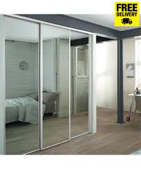 3 white frame mirror sliding wardrobe doors with storage for the