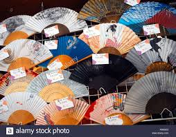 japanese fans for sale japanese fans for sale in a tokyo shop in japan stock photo