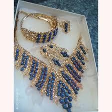 ring bracelet necklace images Women 39 s oval bead tassel alloy necklace earrings ring bracelet sets jpg