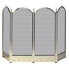 uniflame polished brass 4 panel fireplace screen with decorative