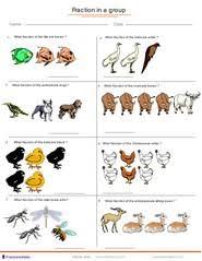 fractions applied to group of animals kindergarten 1st grade