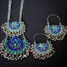silver earrings necklace images German silver afghani blue mix necklace with earrings jpg