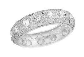 scalloped wedding band deco scalloped vintage filigree eternity diamond wedding band