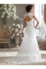 sheath sweetheart cap sleeve open back lace wedding dress with buttons