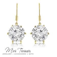 cubic zirconia drop earrings gold plated 8mm cubic zirconia drop earrings mini trinkets
