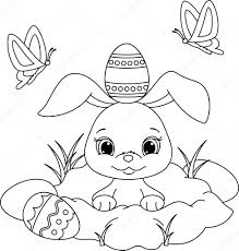 easter bunny coloring page u2014 stock vector malyaka 65612161