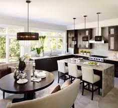 dining room banquette round table banquette seating kitchen transitional with light wood