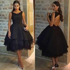black ball gown tea length evening dresses pretty appliques beaded