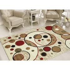Circle Area Rug Sweet Home Stores Clifton Collection Modern Circles Design Beige 7