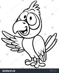 vector illustration cartoon parrot coloring book stock vector