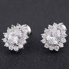 teardrop stud earrings faux diamond inlay teardrop stud earrings in silver twinkledeals