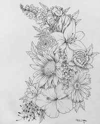floral flower drawing black and white illustration line