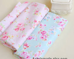 pink flower fabric shabby chic cotton fabric flower plaid