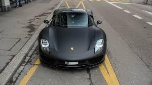 black porsche 918 porsche 918 spyder weissach package loud sounds