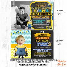 minion birthday party invites despicable me birthday invitation boys birthday party