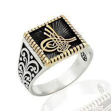 sterling silver ottoman tugra men ring