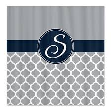 Navy And Coral Shower Curtain Custom Quatrefoil Shower Curtain Personalized With Monogram