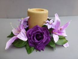 flower candle rings candle ring with artificial purple roses lilies artificial