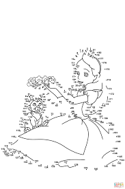 alice in wonderland dot to dot free printable coloring pages